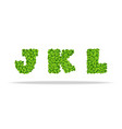 alfavit from the leaves of the clover letters jkl vector image vector image