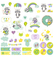 Baby Boy Raccoon Scrapbook Set Baby Tags vector image vector image