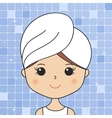 Beautiful woman in bathroom with head towel making vector image