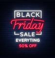 black friday sale neon sign neon banner vector image vector image