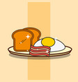 breakfast on dish fried egg bacon and bread vector image