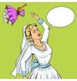 Bride throws wedding bouquet pop art vector image