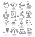 business people management icons in line style vector image vector image