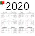 calendar 2020 portuguese sunday vector image vector image