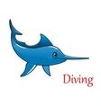 Cartoon swordfish character vector image vector image