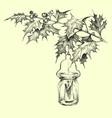 christmas ornaments mistletoe twigs and lit vector image