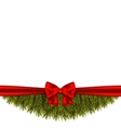 Christmas tree branch decorated with red bow vector image vector image