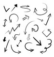 collection hand drawn doodle arrows set vector image