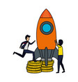 couple of businessmen with coins and rocket vector image