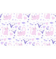cute cats seamless pattern kittens endless vector image vector image