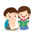 cute girl reading book with boy vector image vector image