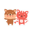 cute happy smiling dog and cat character vector image vector image