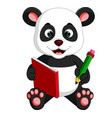 cute panda reading a book vector image vector image