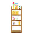 education bookcase with folders document object vector image