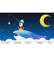 fantasy night with the flying whale vector image