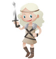 female warrior with sharp sword vector image vector image