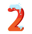 figure is 2 in the snow number two for the vector image