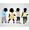 four children silhouettes vector image vector image