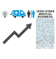 Growth Trend Chart Icon with 1000 Medical Business vector image vector image