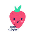 hand drawing sweet strawberry vector image