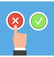 Hand finger pressing buttons no or yes vector image vector image
