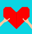 hands arms holding red origami paper heart icon vector image