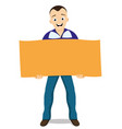 happy man with a poster in his hands vector image