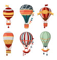 hot air balloon retro icons bon voyage vector image vector image
