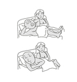 Husband snores husband and wife lying in bed vector image vector image