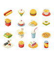 isometric fast food 3d icons set flat design vector image vector image