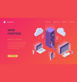 landing page for cloud web hosting vector image vector image