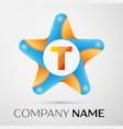 letter t logo symbol in the colorful star on grey vector image vector image