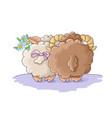 many cute lambls with a ball wool vector image vector image