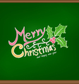 Merry christmas drawing on chalkboard vector image vector image