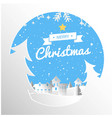 merry christmas ribbon circle snow white backgroun vector image
