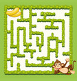 monkey maze puzzle game template vector image