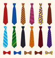 necktie icon set flat style vector image vector image