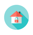 Open House with Padlock Circle Flat Icon vector image