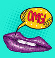 pop art drawing purple lips with the inscription vector image