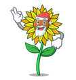 santa sunflower mascot cartoon style vector image