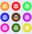 Scales balance A set of nine different colored vector image