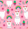 seamless pattern with cute llama and rainbow vector image