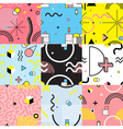 Seamless Patterns Set Memphis Style vector image vector image