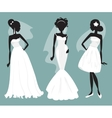 Set brides in various wedding dresses vector image vector image