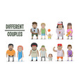 set of different couples and families cartoon vector image vector image