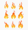 set of fire flames icons on vector image