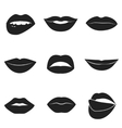 Set of glamour black lips Beautiful female lips vector image