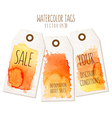 Set of hand drawn tags with watercolor background vector image vector image