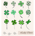 set of lucky clovers vector image vector image