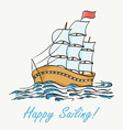 ship floating on the waves Hand dra vector image